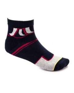 Activ Quarter Slip On Navy Blue & Burgundy Socks
