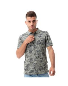 Activ Floral Buttoned Pique Polo Shirt - Heather Olive-X large