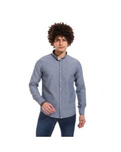 Activ Comfy Full Buttoned Long Sleeves Shirt - Heather Navy Blue-Large