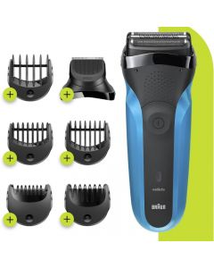 Braun Series 3 Shave & Style 310BT Wet & Dry razor with precision beard trimmer and 5 comb attachments, Blue
