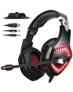 Onikuma K1-PRO Blue LED Gaming Headset With Noise Canceling Mic - Black/Red