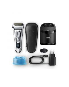 Braun Series 9 9390cc Wet & Dry Electric Shaver With Clean & Charge Station And Leather Travel Case - Silver