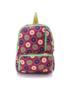 Activ Colorful Circles Backpack & Laptop Bag - Fuchsia & Lime