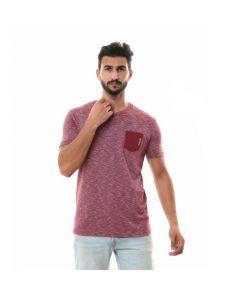 Activ Side Pocket Heather Burgundy T-shirt-Small