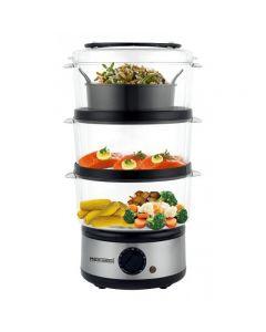 حلة طهي بالبخار ميديا تك، 3 طبقات، 2.5 لتر، 500 وات، اسود - MT-FS88