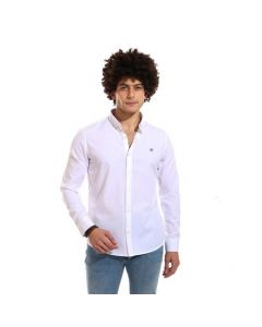 Activ Comfy Full Buttoned Long Sleeves Shirt - White-Large