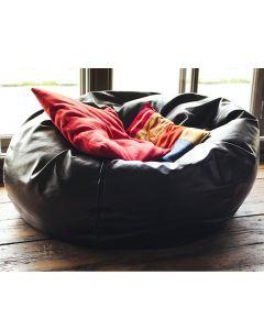 Giant Leather Bean Bag Black