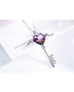 سلسلة مفتاح مجنح، فضة إسترليني، أرجواني / بنفسجي - CNY-0214A