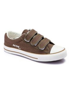 Activ Canvas Velcro Sneakers-Brown-42