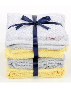 Bath towels set (4 pcs)  Yellow * Grey