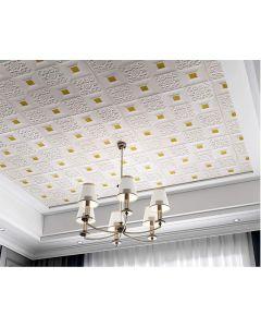 ورق حائط فوم ثلاثي الابعاد للاسقف والحوائط ابيض و ذهبي