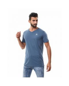 Activ Basic V-neck Solid T-shirt - Indigo-Medium