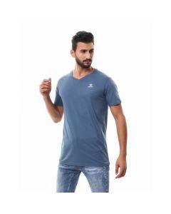 Activ Basic V-neck Solid T-shirt - Indigo-Large