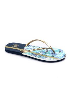 Activ Clolorful Prints With Shiny Thong Flip Flop - Navy Blue & Gold