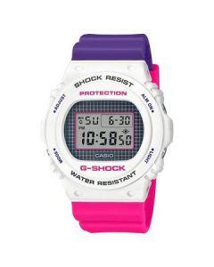 ساعة كاجوال جي شوك كاسيو للرجال، ديجيتال، سوار بلاستيك، ابيض و وردي و بنفسجي  - DW-5700THB-7DR