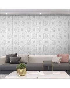 ورق حائط فوم ثلاثي الابعاد للاسقف والحوائط ابيض و فضي