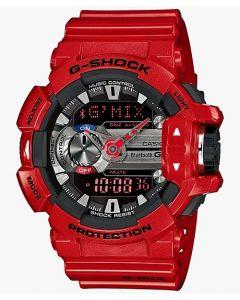ساعة كاجوال جي شوك كاسيو للرجال، انالوج - ديجيتال، سوار سيليكون، احمر  - GBA-400-4ADR