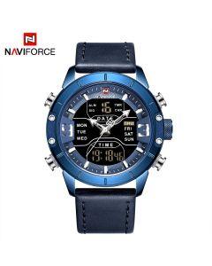 NAVIFORCE ساعة يد ذات عرض مزدوج بسوار جلدي فاخرة ساعات كوارتز رياضية عسكرية - NF9153L