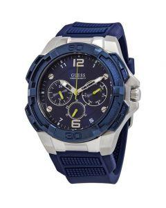 ساعة جيس للرجال W1254G1 ذات العروة المتباينة كرونوغراف دائرية سيليكون أنالوج - أزرق فضي
