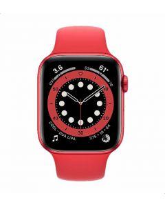 ساعة ابل الاصدار السادس سيليكون بنظام تحديد المواقع ومستشعر اكسجين الدم، 44 ملم - `احمر