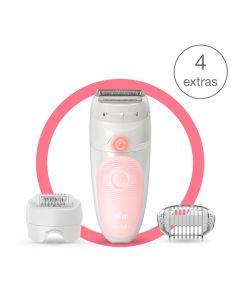 آلة إزالة الشعر Braun Silk epil Ses5620 للاستخدام الجاف أو مع الماء مع 4 ملحقات متضمنة. رأس ماكينة حلاقة.