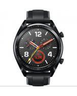 ساعة ذكية هواوي GT، ستانلس ستيل اسود بسوار سيليكون، اسود - FTN-B19
