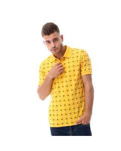 Activ Printed Pique Short Sleeves Polo Shirt - Mustard