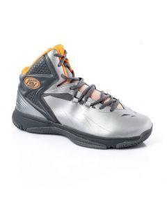 Activ High Neck Lace Up Basketball Shoes - Metallic Silver & Neon Orange