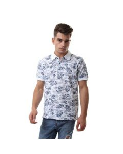 Activ Floral Printing Casual Polo Shirt - White