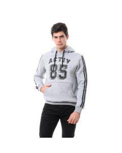 Activ Lined Sleeves Printed Hoodie - Light Grey
