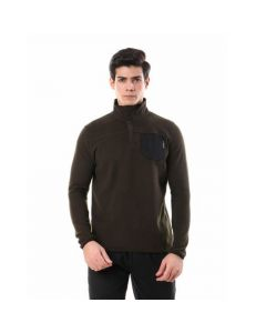 Activ Front Side Pocket Full Sleeves Sweater - Olive