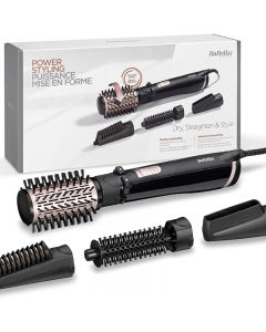 BaByliss AS200E Rotating Warm Air Brush Set Brush & Style Ionic, 1000 Watts, 4 attachments, Blac