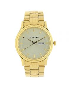 ساعة تيتان يد بلون الشمبانيا بسوار ستانلس ستيل ذهبي - 1650YM06