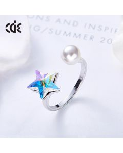 The Cute Sapphire Star With A Pearl Ring WHITE