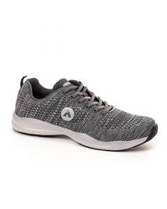 Air Walk Lace Up Oval Toe Running Sneakers - Dark Grey