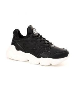 Air Walk Textured Leather Fashionable Black Sneakers