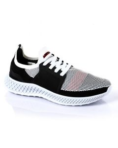 Air Walk Mesh Comfy Lace Up Sneakers - Black , White & Red