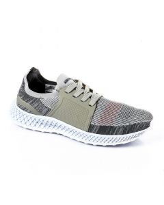 Air Walk Mesh Comfy Lace Up Sneakers - Grey , White & Light Olive