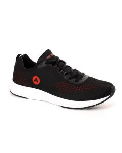 Air Walk Oval Toe Lace Up Comfy Running Sneakers - Black & Red