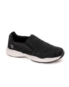 Air Walk Slip On Round Toe Comfy Sneakers - Heather Black