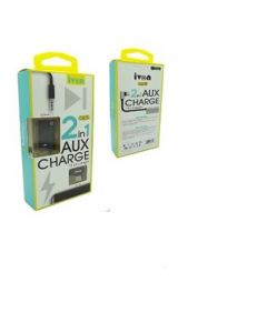ivon type-c  2in1 aux3.5mm and charger 10cm  silver in black ca75
