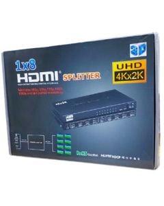 Keendex HDMI 4K Splitter 1x8 8xHDMI Female Port Audio Video Distributor Amplifier with Charger Black /  Kx2268