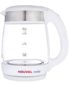 غلاية كهربائية زجاج ويلزي من نوفال 2000 وات، 1.7 لتر - ابيض