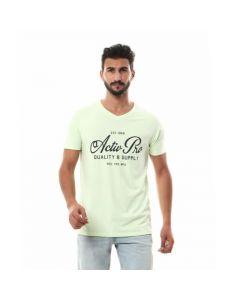 Activ Printed V-neck Solid T-shirt - Lime