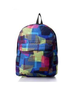 Activ Patterned Outer Pocket Backpack - Navy Blue , Lime & Fuchsia