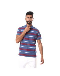 Activ Striped Turn Down Collar Polo Shirt - Blue , Red & White