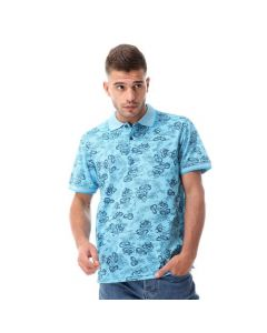 Activ Floral Buttoned Pique Polo Shirt - Heather Turqoise