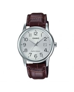 Casio Men's Silver Dial Leather Band Watch - MTP-V002L-7B2UDF, Analog