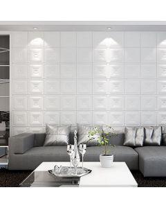 ورق حائط فوم ثلاثي الابعاد جلد ابيض