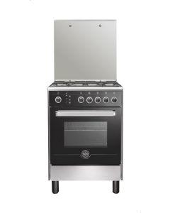 بوتاجاز لاجيرمانيا فري ستاند 60 × 60 سم 4 شعلة غاز لون استانلس × أسود مزود بغطاء زجاجي-6M80GRB1X4AWW